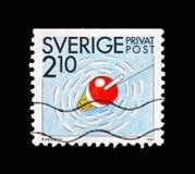 Pesca, selos do desconto - serie das atividades do verão, cerca de 1989 fotografia de stock