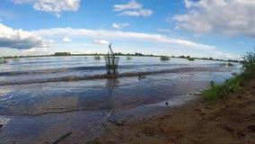 pesca Sera sul lago Il'men' Carro armato di pesce archivi video