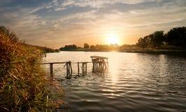 Pesca sigean no por do sol Foto de Stock
