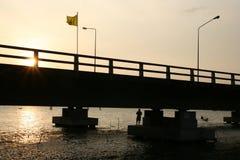 Pesca sob a ponte fotografia de stock