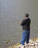 Pesca sozinho Fotos de Stock Royalty Free