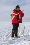 Pesca sul ghiaccio. fotografia stock