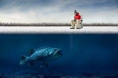Pesca sul ghiaccio Fotografie Stock