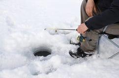 Pesca sul ghiaccio Fotografia Stock