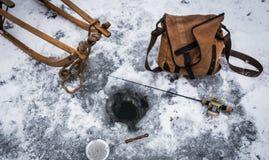 Pesca sul ghiaccio d'annata #2 immagini stock libere da diritti