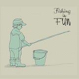 Pesca sveglia del ragazzo Immagine Stock Libera da Diritti