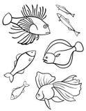 Pesca un conjunto de símbolos del vector. Fotografía de archivo libre de regalías