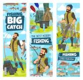 Pesca y pescados del hombre del pescador coger en las banderas netas stock de ilustración