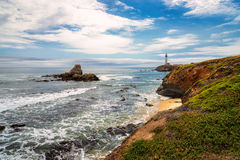 Pescadero beach and Pigeon Point Lighthouse, California Stock Images