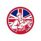 Pescadero británico Union Jack Flag Mascot stock de ilustración