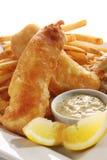 Pescado frito con patatas fritas Foto de archivo