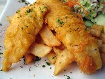 Pescado frito con patatas fritas Imágenes de archivo libres de regalías