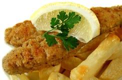 Pescado frito con patatas fritas fritos cacerola Fotos de archivo libres de regalías