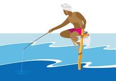 Pescador asiático que se sienta con trole en un whi de madera del polo libre illustration