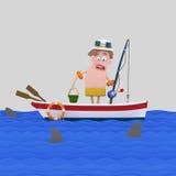 Pescador asustado que mira el mar stock de ilustración