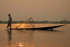 Pescador Burmese Fotografia de Stock