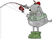 Pescador canino stock de ilustración