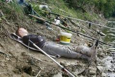 Pescador cansado Imagen de archivo libre de regalías