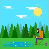 Pescador Catching Fish Outdoors em Forest Lake ilustração do vetor