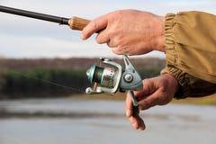 Pescador com giro Foto de Stock