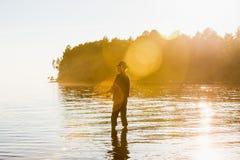 Pescador com giro imagem de stock royalty free