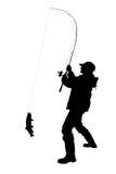 Pescador com um peixe isolado Fotos de Stock Royalty Free