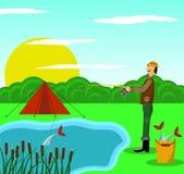 Pescador com uma captura pela lagoa que acampa com barraca ilustração stock