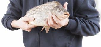 Pescador com uma carpa Fotografia de Stock Royalty Free