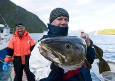 Pescador con bacalao gigante imagen de archivo libre de regalías