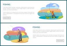 Pescador con bosquejo del vector de la caña de pescar y de los pescados stock de ilustración