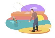 Pescador con el ejemplo del vector de la caña de pescar stock de ilustración