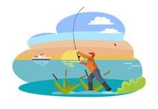 Pescador con el ejemplo del vector de la caña de pescar ilustración del vector