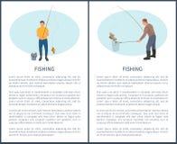Pescador con el icono del vector de la caña de pescar y de los pescados ilustración del vector