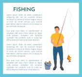 Pescador con el icono del vector de la caña de pescar y de los pescados libre illustration