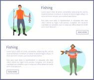 Pescador con el icono del vector de la caña de pescar y de los pescados stock de ilustración