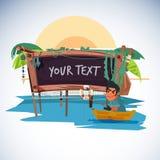 Pescador con estilo de madera tropical del tablero a la presentación - vector libre illustration