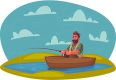 Pescador con la barra de pesca Ilustración del vector de la historieta libre illustration