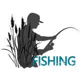 Pescador con la caña de pescar y la caña libre illustration