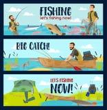 Pescador con las barras, los trastos y la captura de pescados stock de ilustración