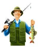 Pescador con los pescados Imágenes de archivo libres de regalías