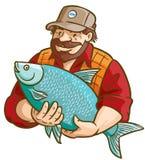 Pescador con los pescados stock de ilustración