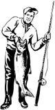 Pescador con los pescados ilustración del vector