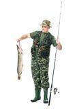 Pescador con su retén imagenes de archivo