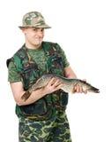 Pescador con su retén fotos de archivo
