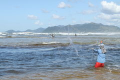 Pescador con Tarrafa Foto de archivo