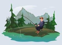 Pescador con una caña de pescar en la orilla de un lago del bosque Reconstrucción al aire libre activa Ilustración del vector ilustración del vector