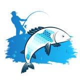 Pescador con una caña de pescar y un pescado stock de ilustración