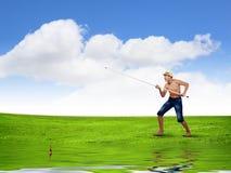 Pescador da criança Fotos de Stock