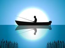 Pescador da lua do fundo do vetor em peixes do barco ilustração royalty free