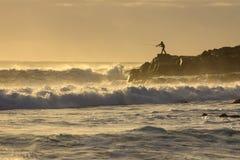 Pescador da manhã da luz suave Imagens de Stock